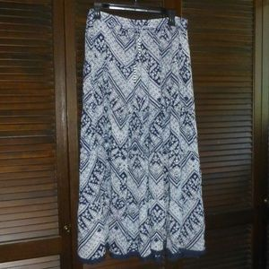 Notations Blue & White Print Maxi Tassel Skirt, L